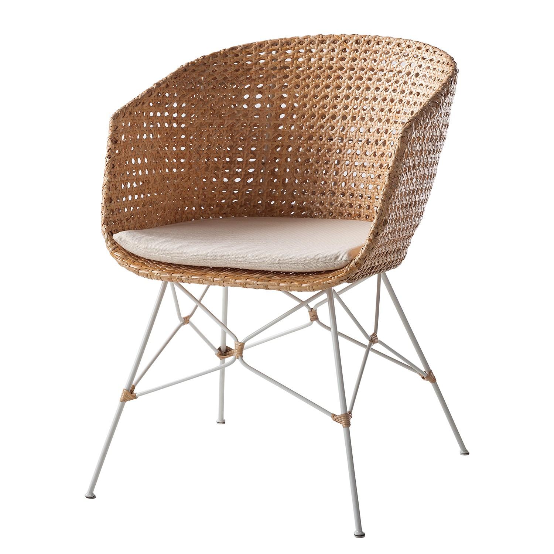 armlehnenstuhl nokomai inkl sitzkissen rattan metall rattan wei maison belfort. Black Bedroom Furniture Sets. Home Design Ideas