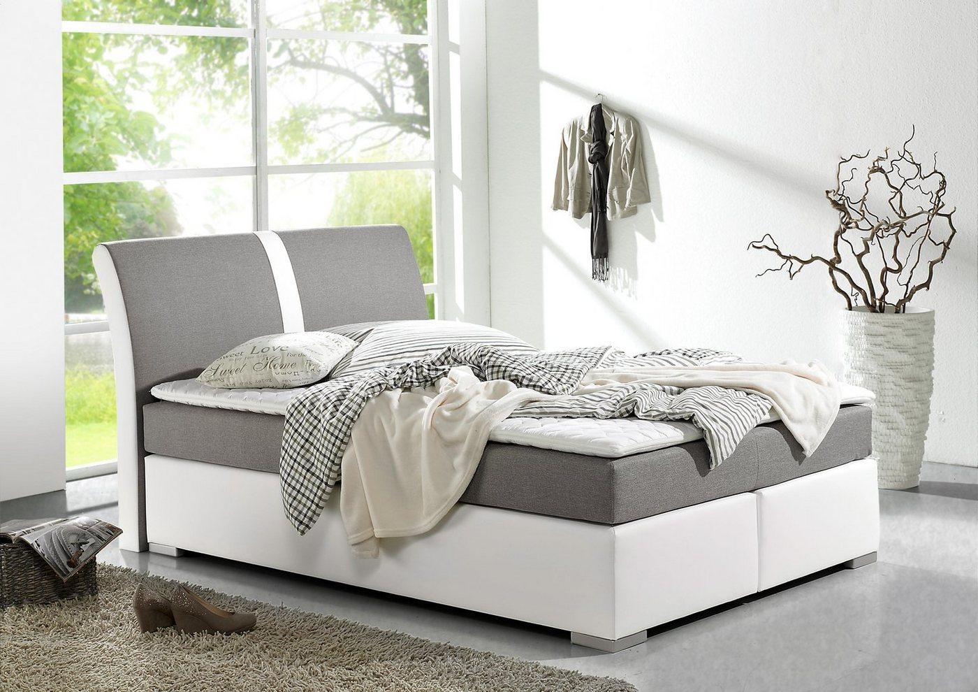 places of style boxspringbett inkl kaltschaum topper grau ohne aufbauservice bonnell. Black Bedroom Furniture Sets. Home Design Ideas