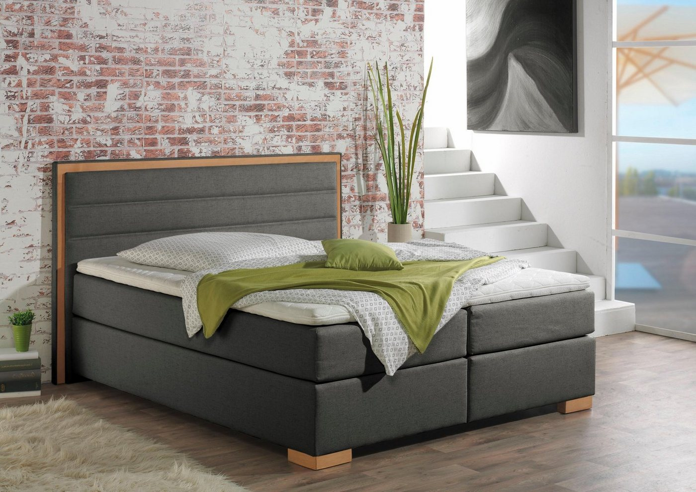 home affaire boxspringbett treviso in 5 breiten 3 ausf hrungen 2 h rtegraden topper. Black Bedroom Furniture Sets. Home Design Ideas