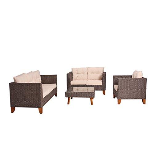 Sitzgruppe Rattan OUTLIV. Kreta Garten-Loungemöbel Set 4-tlg ...