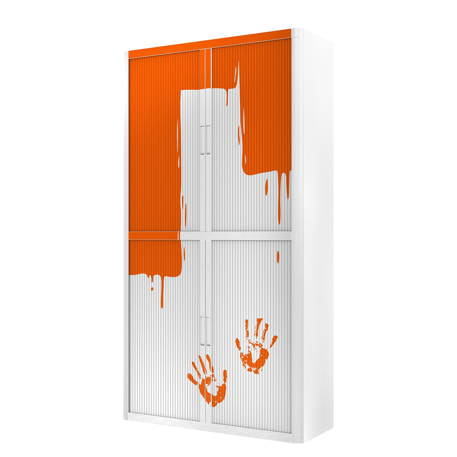 Aktenschrank easyOffice Stickers I - Weiß / Mandarine - 204 cm, easy Office und Paperflow