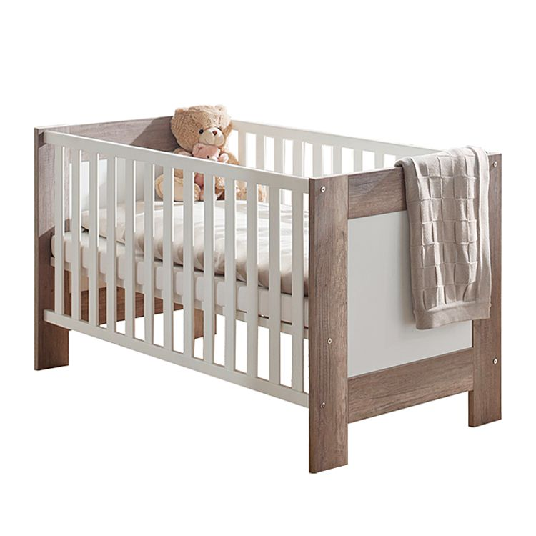 Babybett Berti - Wildeiche Trüffel / Weiß matt - mit Umbauseiten, Kids Club Collection