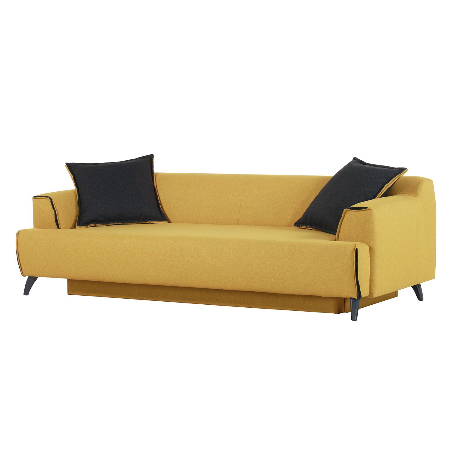 Bigsofa Leddy (mit Schlaffunktion) - Webstoff - Senfgelb / Anthrazit, roomscape