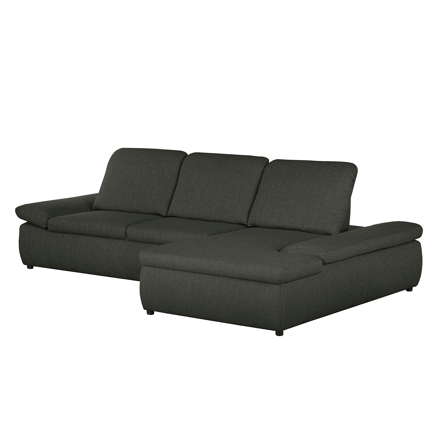 Boxspring Ecksofa Donhill II - Webstoff - Longchair davorstehend rechts - Anthrazit, roomscape