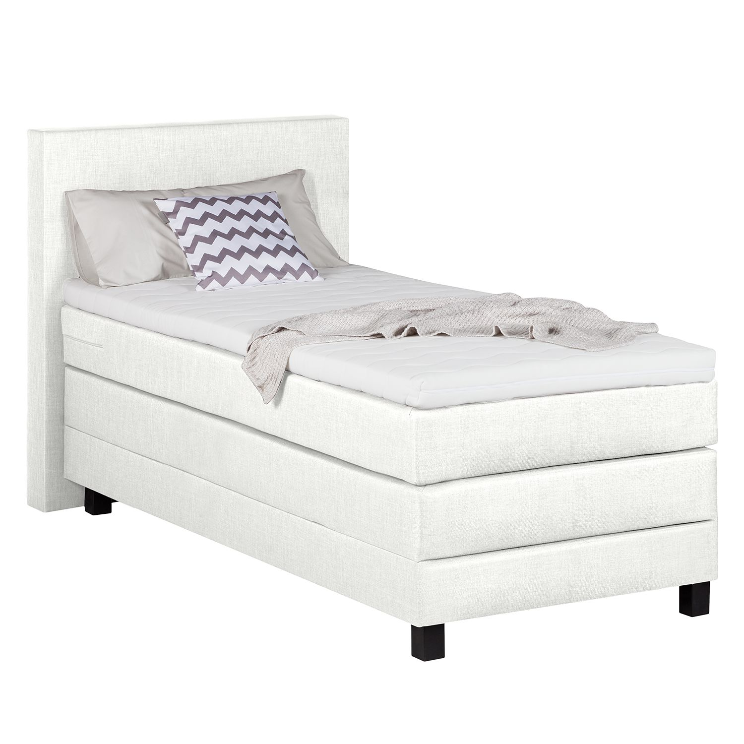 Boxspringbett Splendid Night II - 100 x 200cm - H3 ab 80 kg - Weiß, Grand Selection