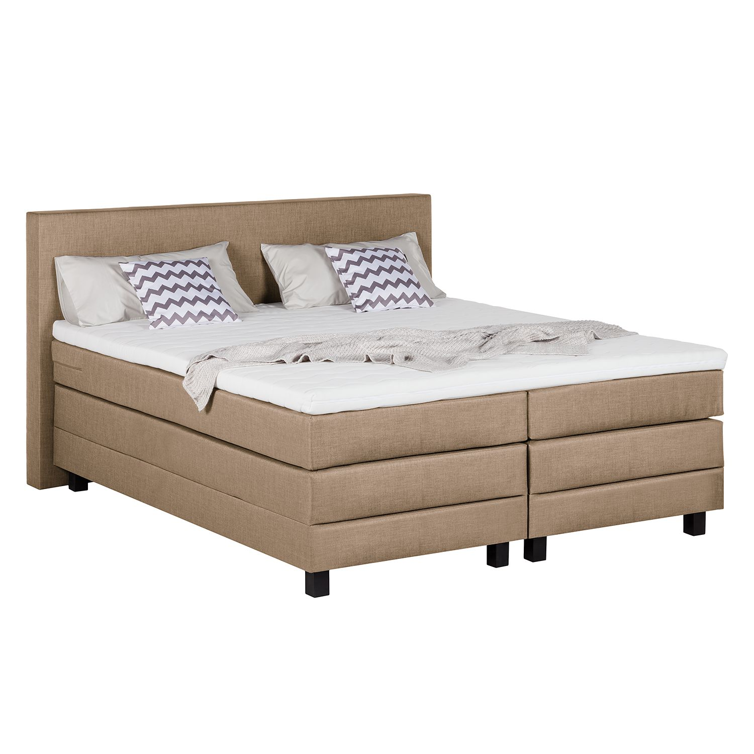 Boxspringbett Splendid Night II - 200 x 200cm - H3 ab 80 kg - Taupe, Grand Selection