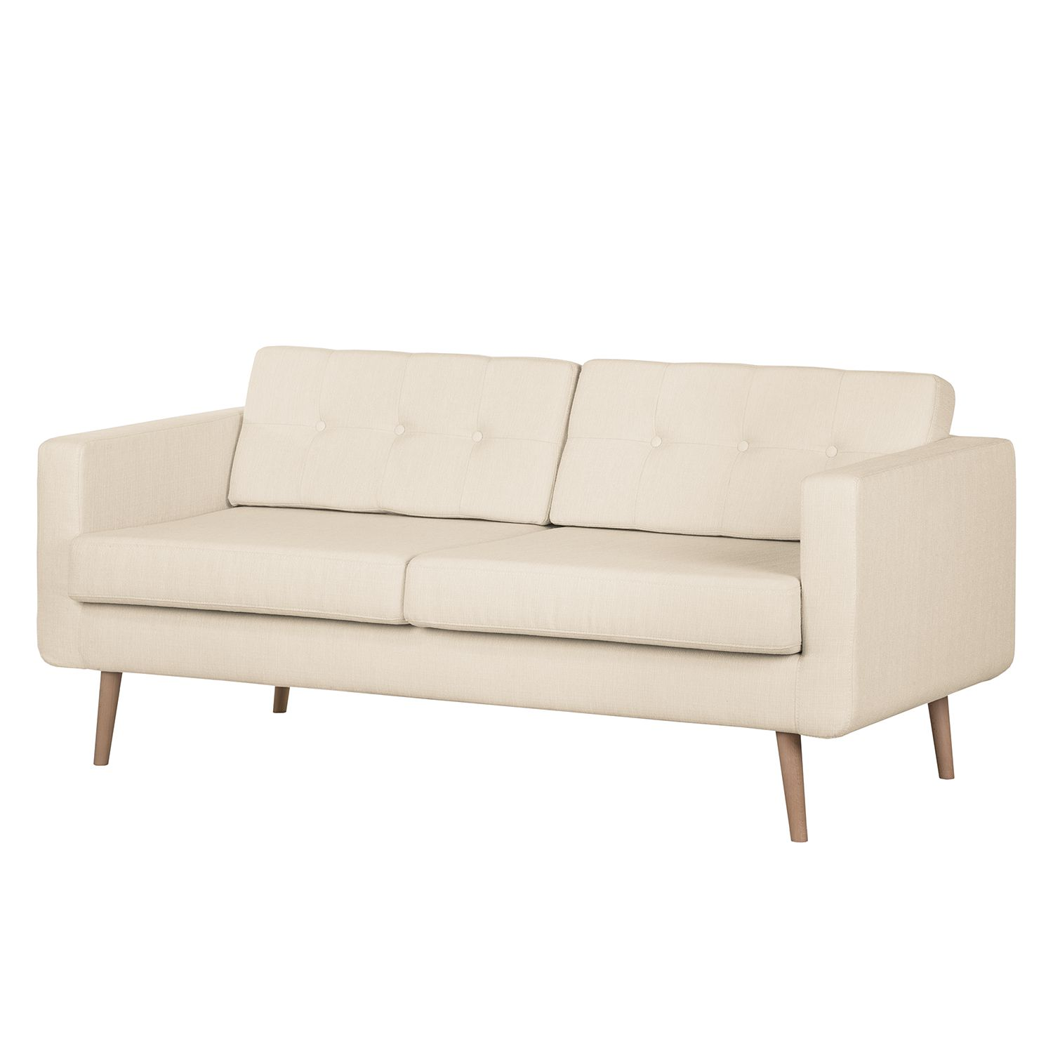 Sofa Aira II (3-Sitzer) - Webstoff - Creme, kollected by Johanna