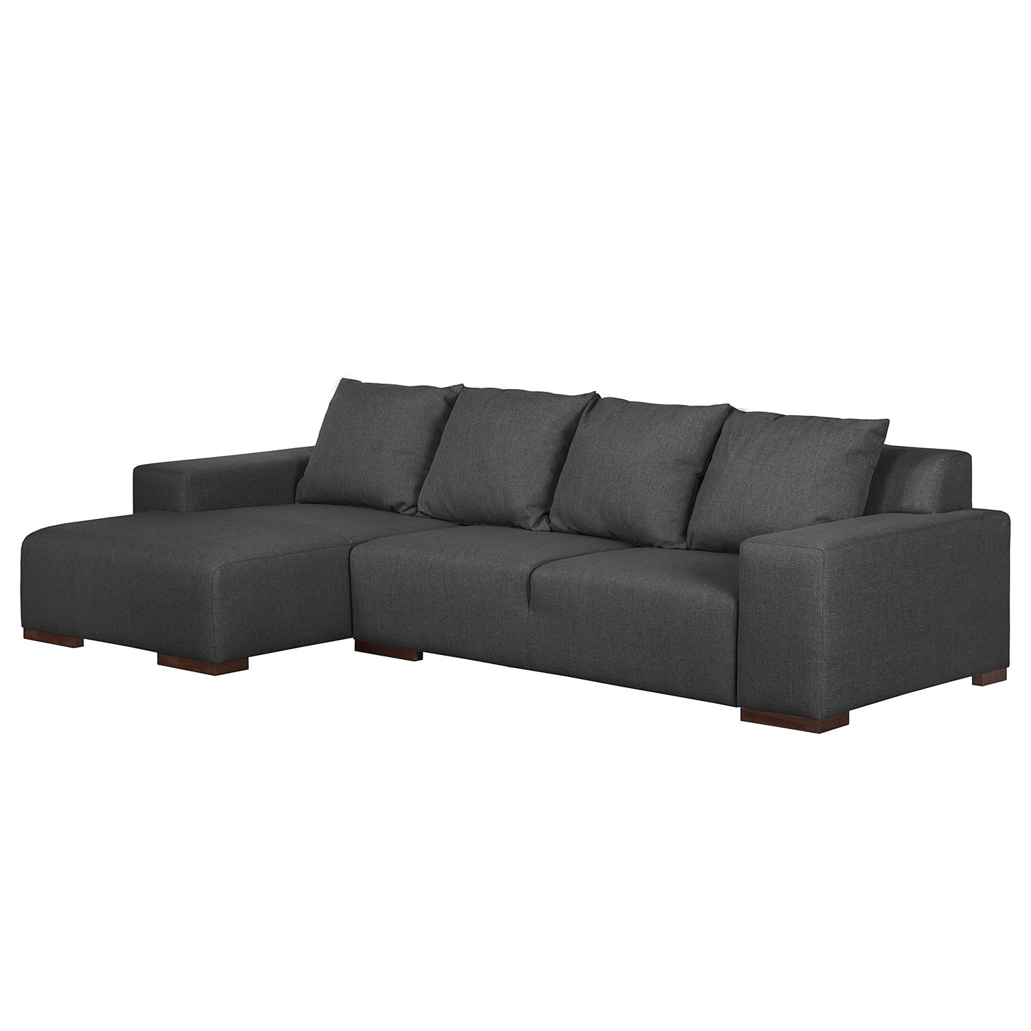 Ecksofa Arrimal II - Webstoff - Longchair/Ottomane davorstehend links - Anthrazit, roomscape