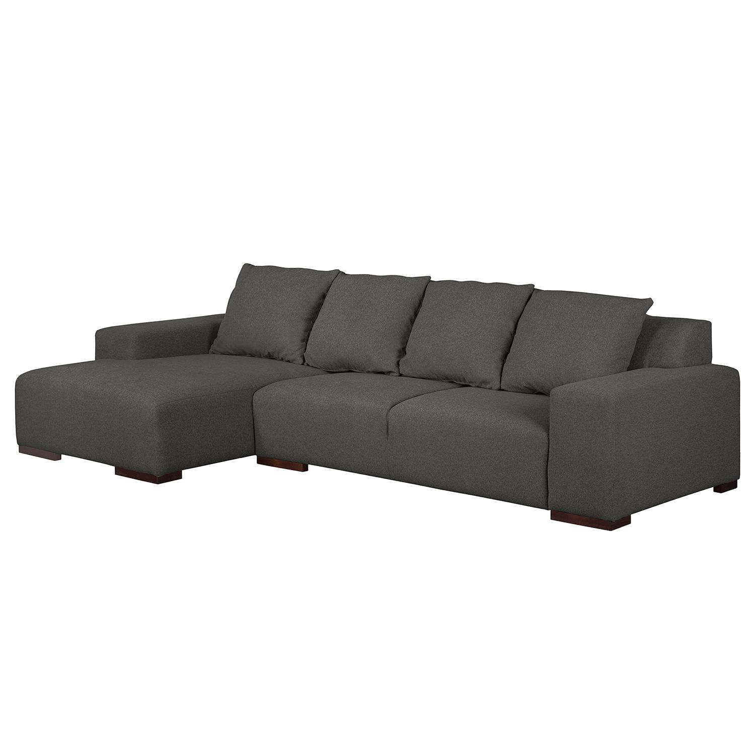 Ecksofa Arrimal I - Webstoff - Longchair/Ottomane davorstehend links - Anthrazit, roomscape