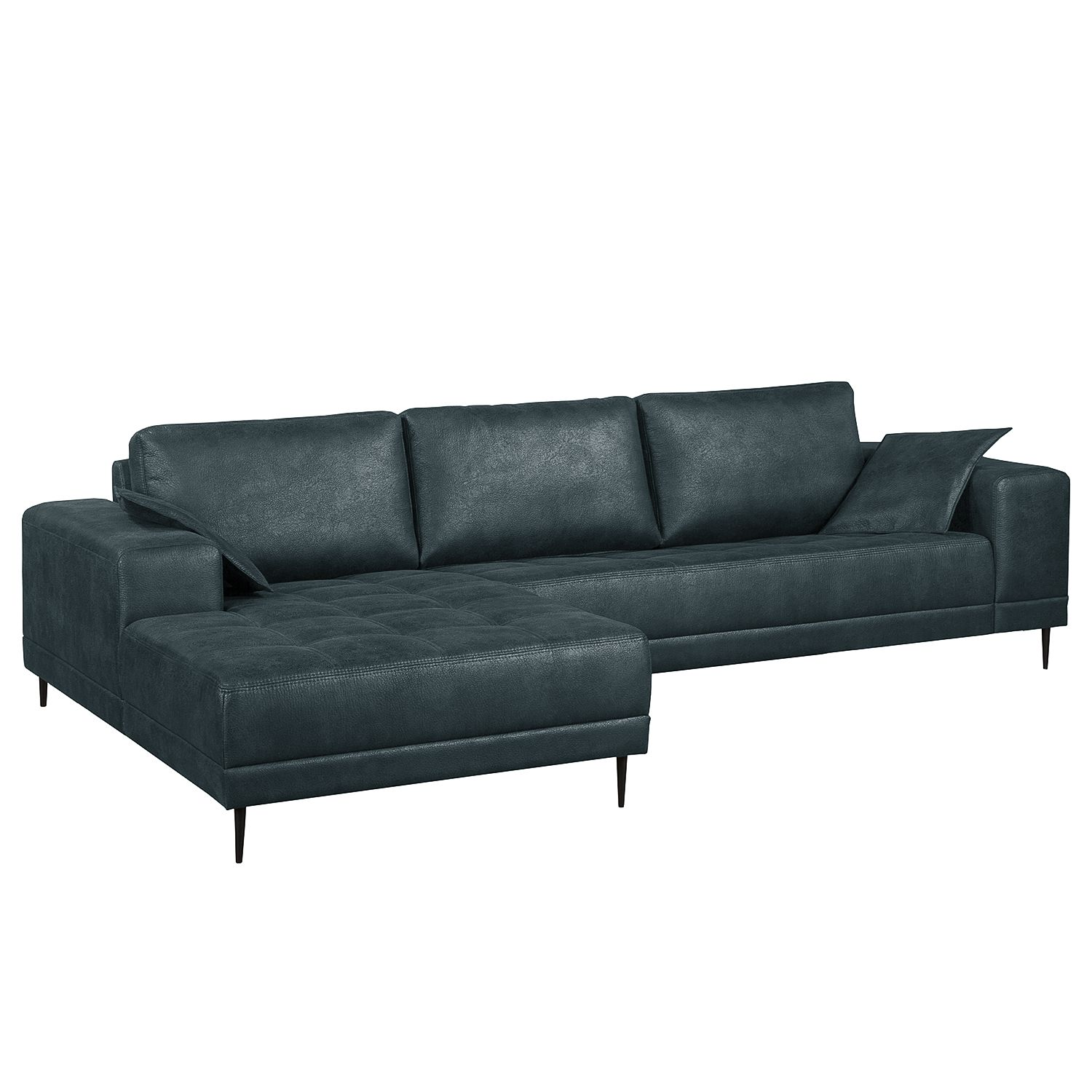 Ecksofa Flesk - Antiklederlook - Ottomane davorstehend links - Ohne Hocker - Anthrazit, ars manufacti
