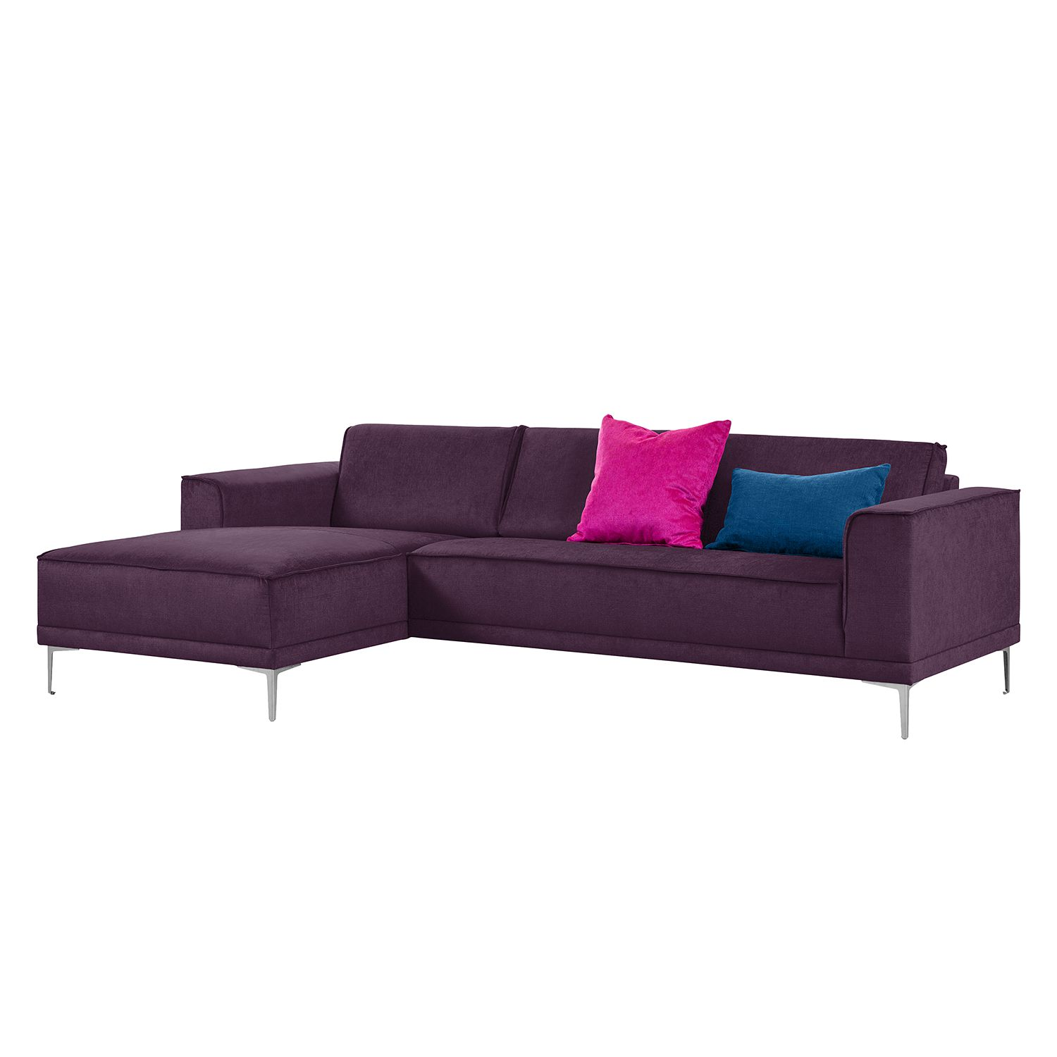 Ecksofa Grapefield - Webstoff - Longchair/Ottomane davorstehend links - Aubergine, Says Who