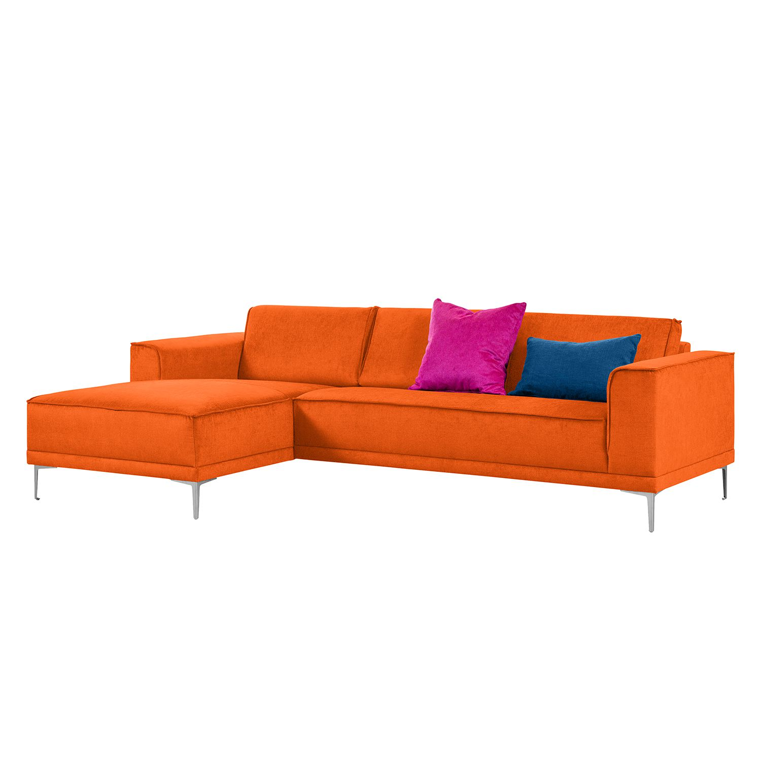 Ecksofa Grapefield - Webstoff - Longchair/Ottomane davorstehend links - Orange, Says Who