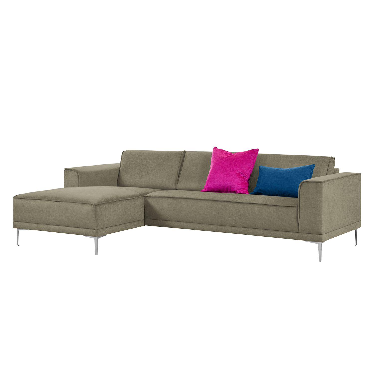 Ecksofa Grapefield - Webstoff - Longchair/Ottomane davorstehend links - Taupe, Says Who