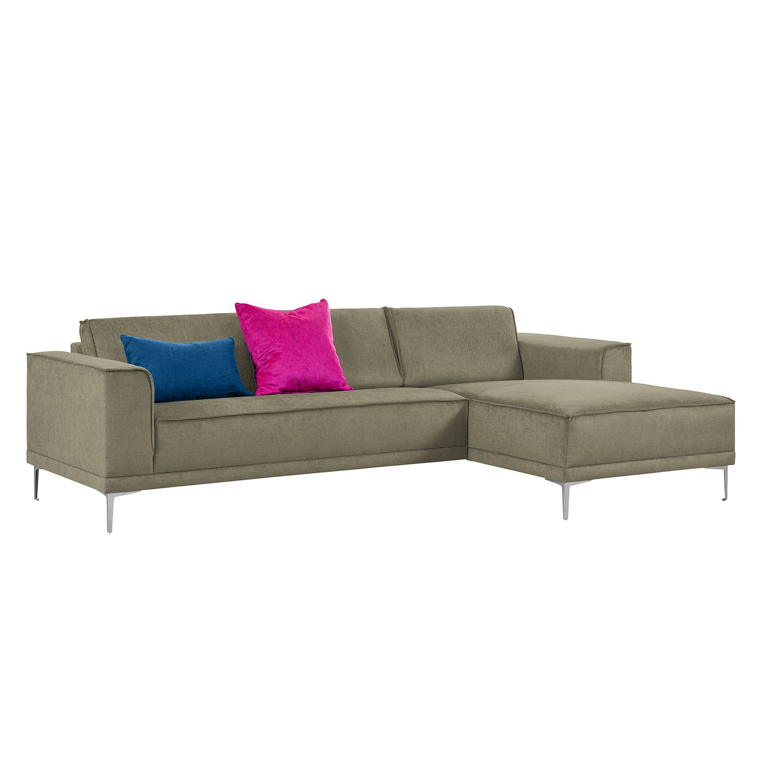 Ecksofa Grapefield - Webstoff - Longchair/Ottomane davorstehend rechts - Taupe, Says Who