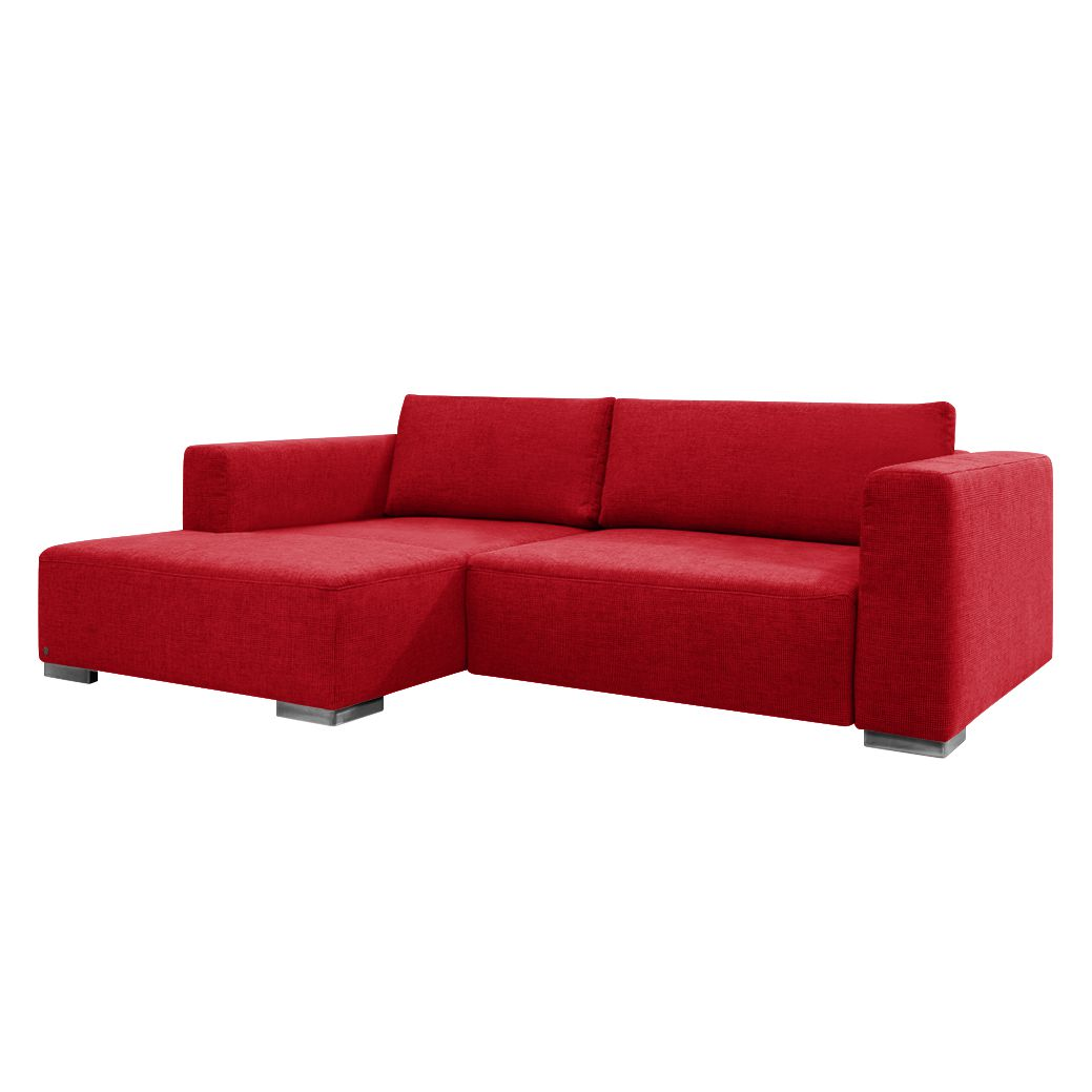 Ecksofa Heaven Colors Style S - Webstoff - Longchair/Ottomane davorstehend links - Mit Schlaffunktion - Rot, Tom Tailor