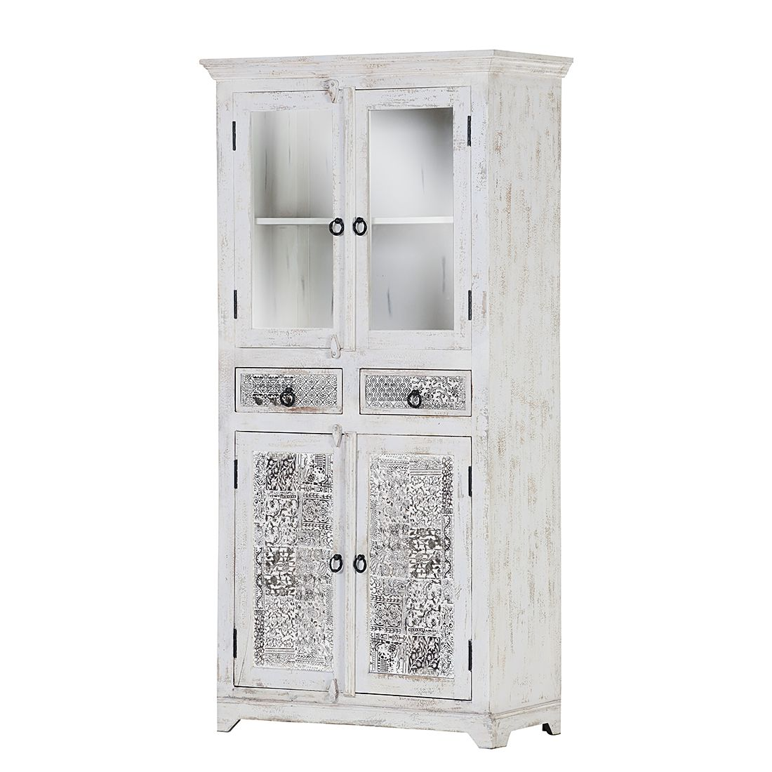 Vitrinenschrank Bansari - Mango teilmassiv - White Washed, Red Living