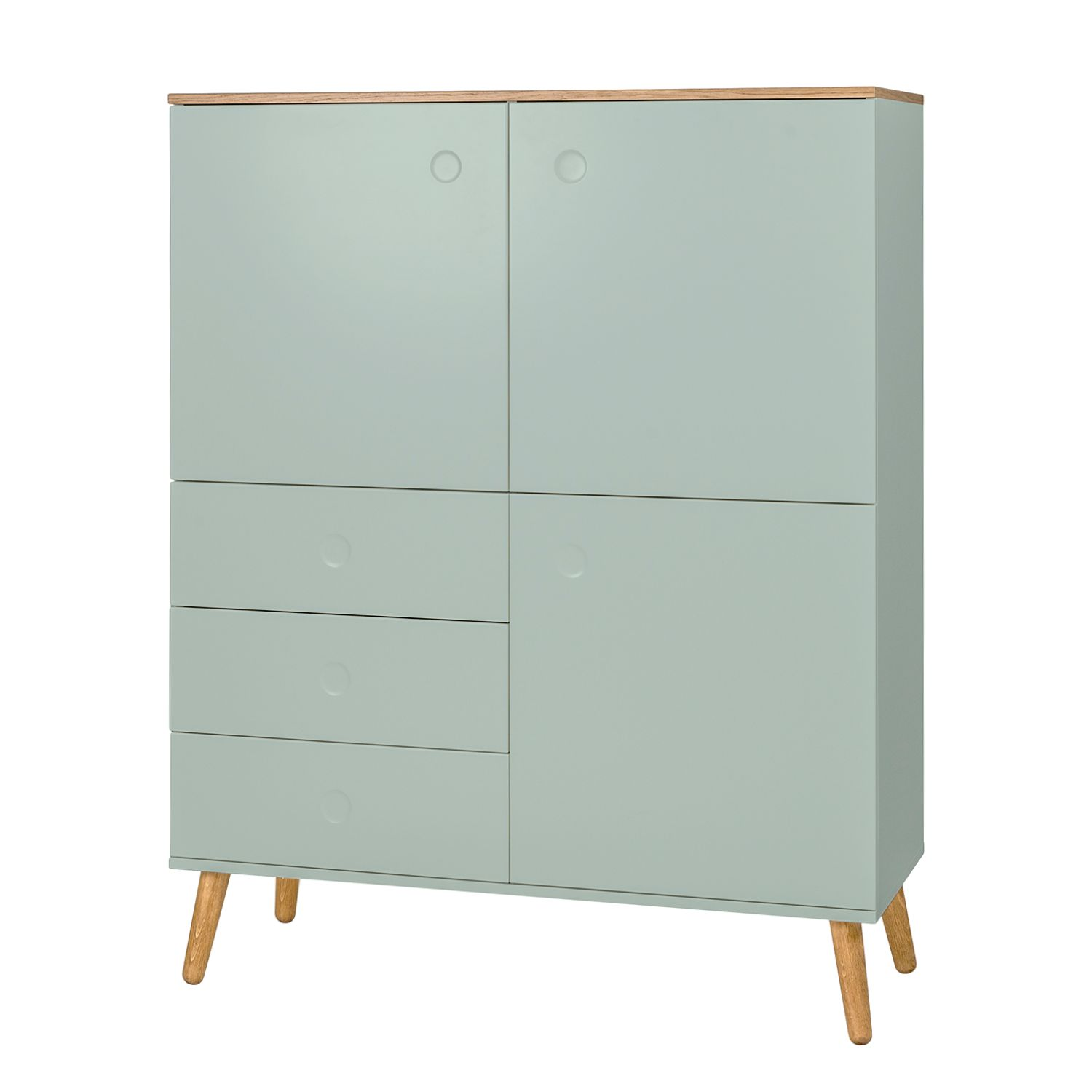 Highboard Dot - Eiche teilmassiv - Mint, Tenzo