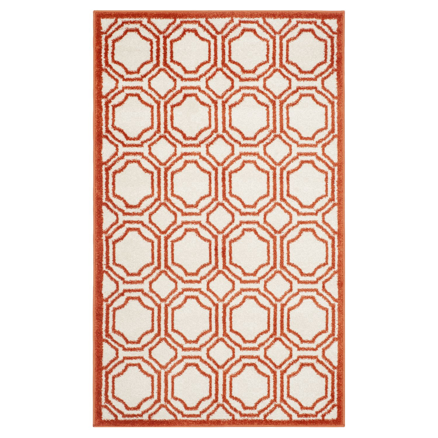 In-/Outdoorteppich Ferrat - Creme/Orange - Maße: 91 x 152 cm, Safavieh