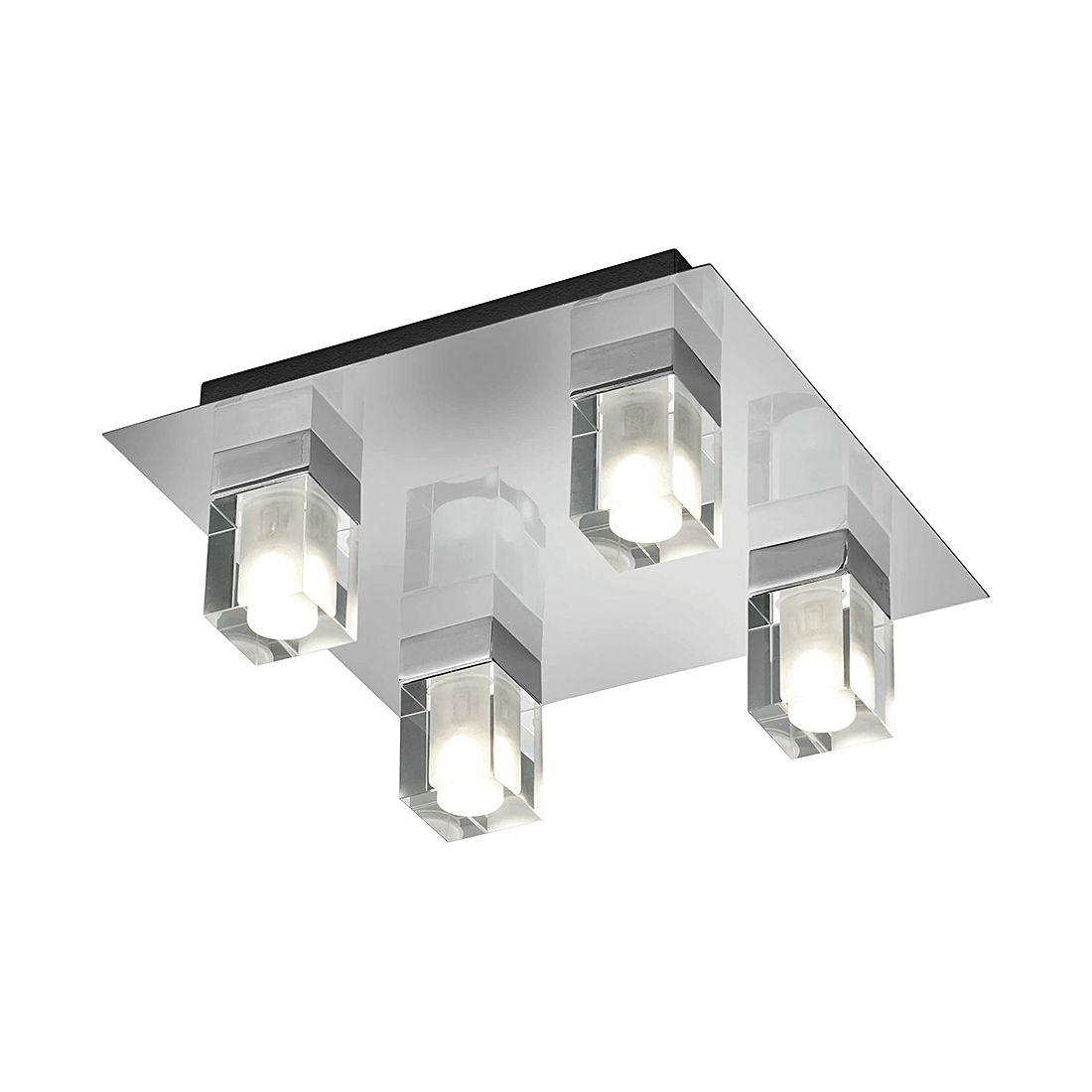 EEK A+, LED-Deckenleuchte - Metall - Chrom - 4-flammig, Trio