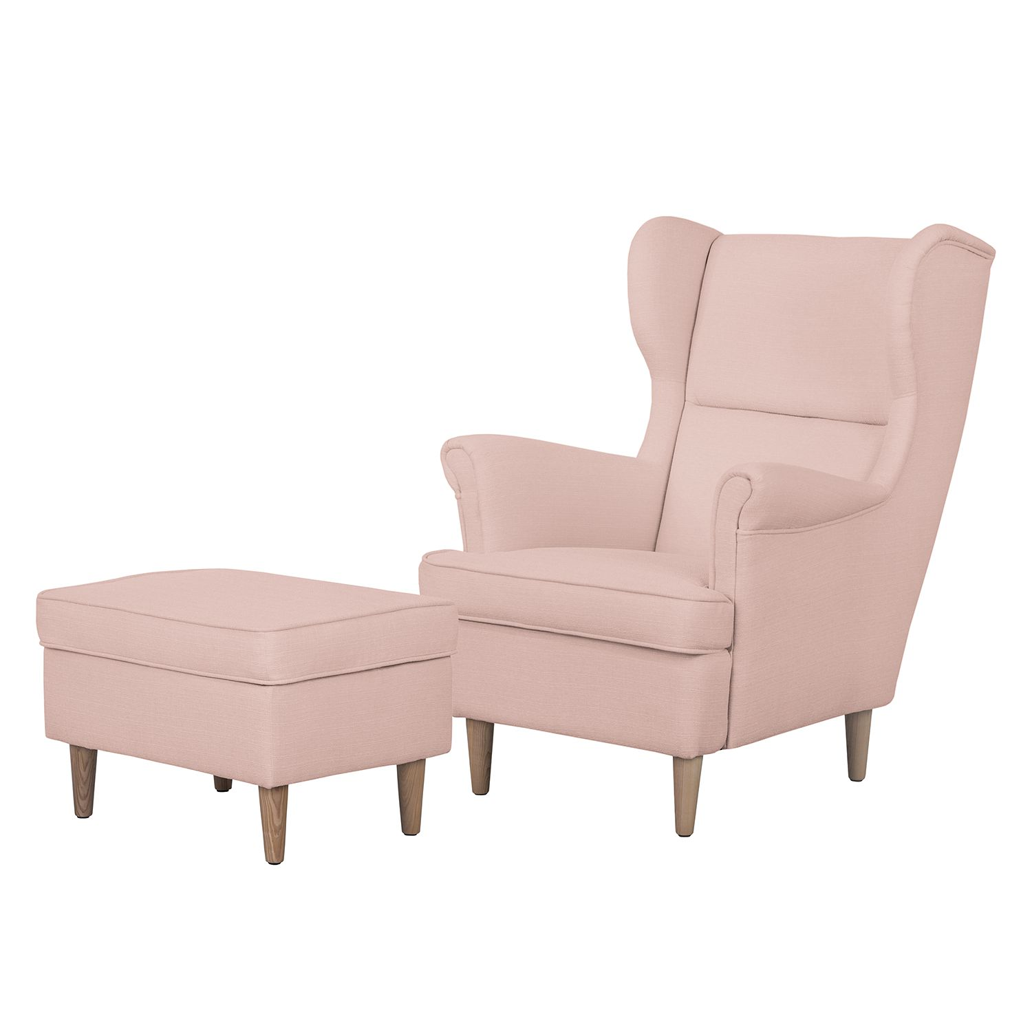 Ohrensessel Juna II - Webstoff - Mit Hocker - Mauve, kollected by Johanna