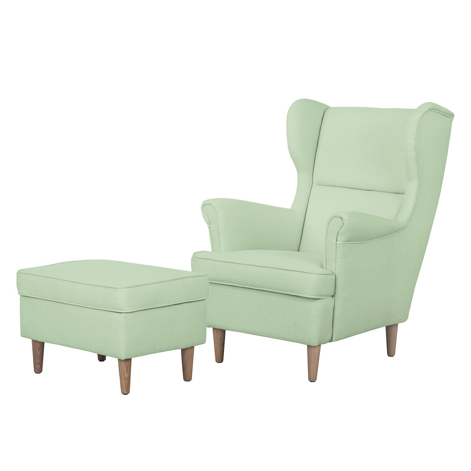 Ohrensessel Juna II - Webstoff - Mit Hocker - Mint, kollected by Johanna