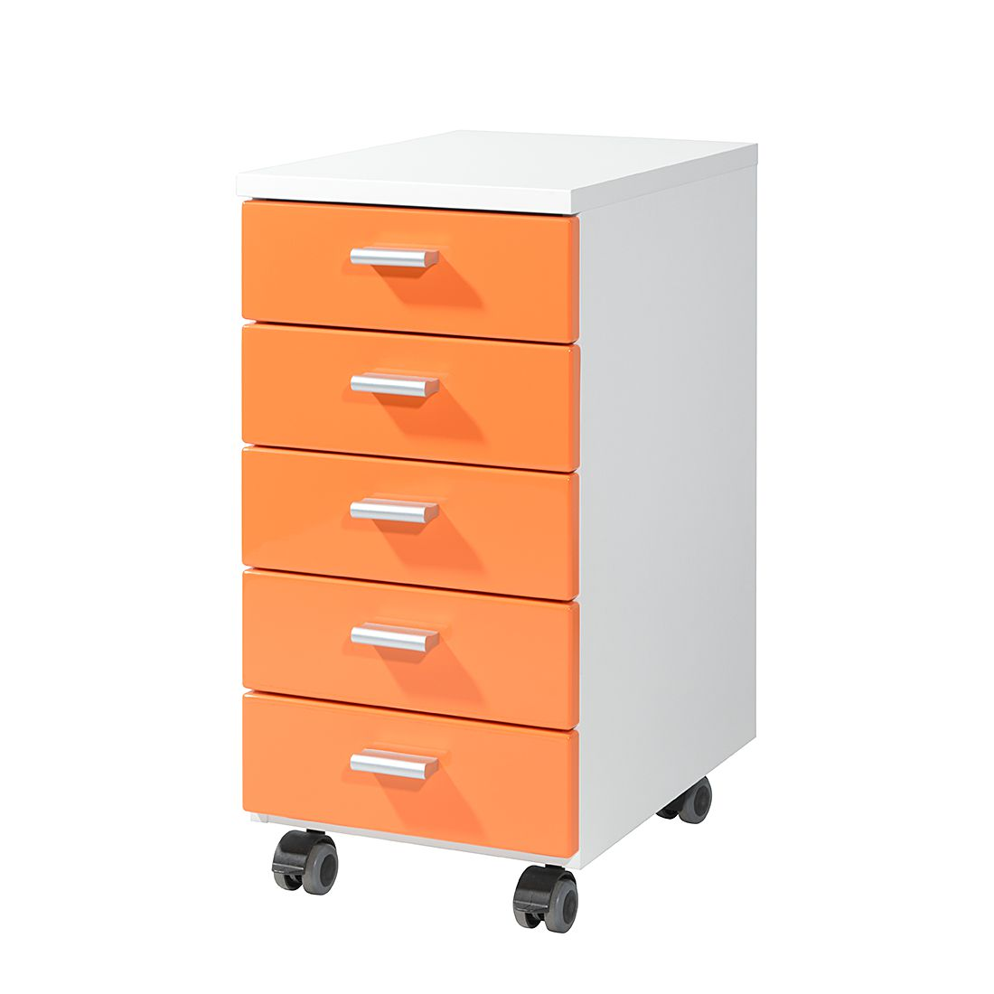 Rollcontainer Colour - Orange / Weiß, home24 office