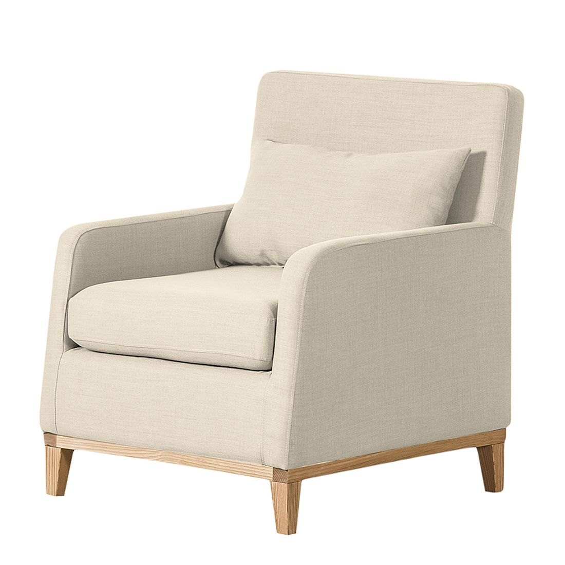 Sessel Blomma - Webstoff Beige - Gestell: Eichefarbig, Jack and Alice