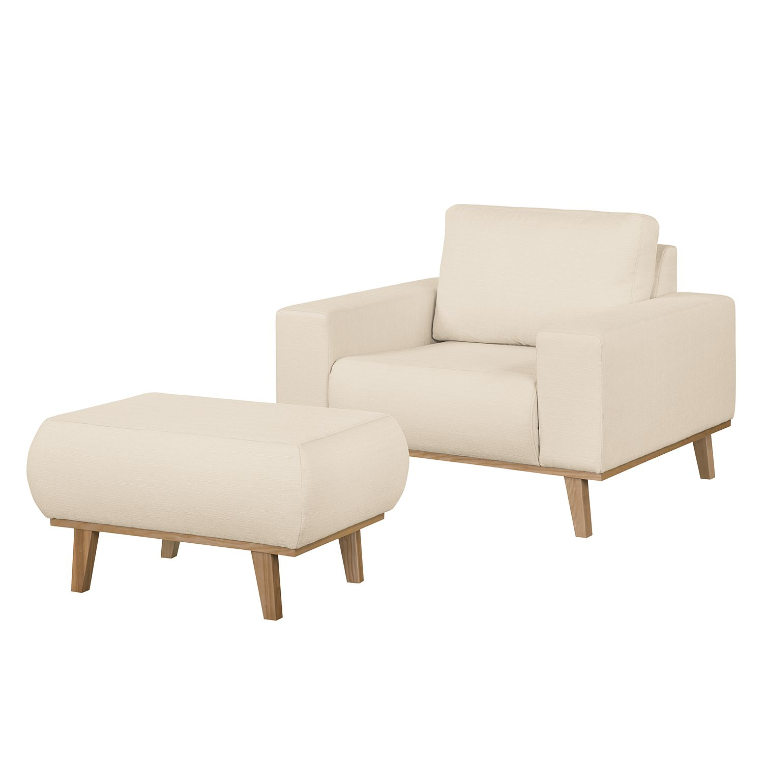 Sessel Eva II - Webstoff - Mit Hocker - Eiche Natur - Creme, kollected by Johanna