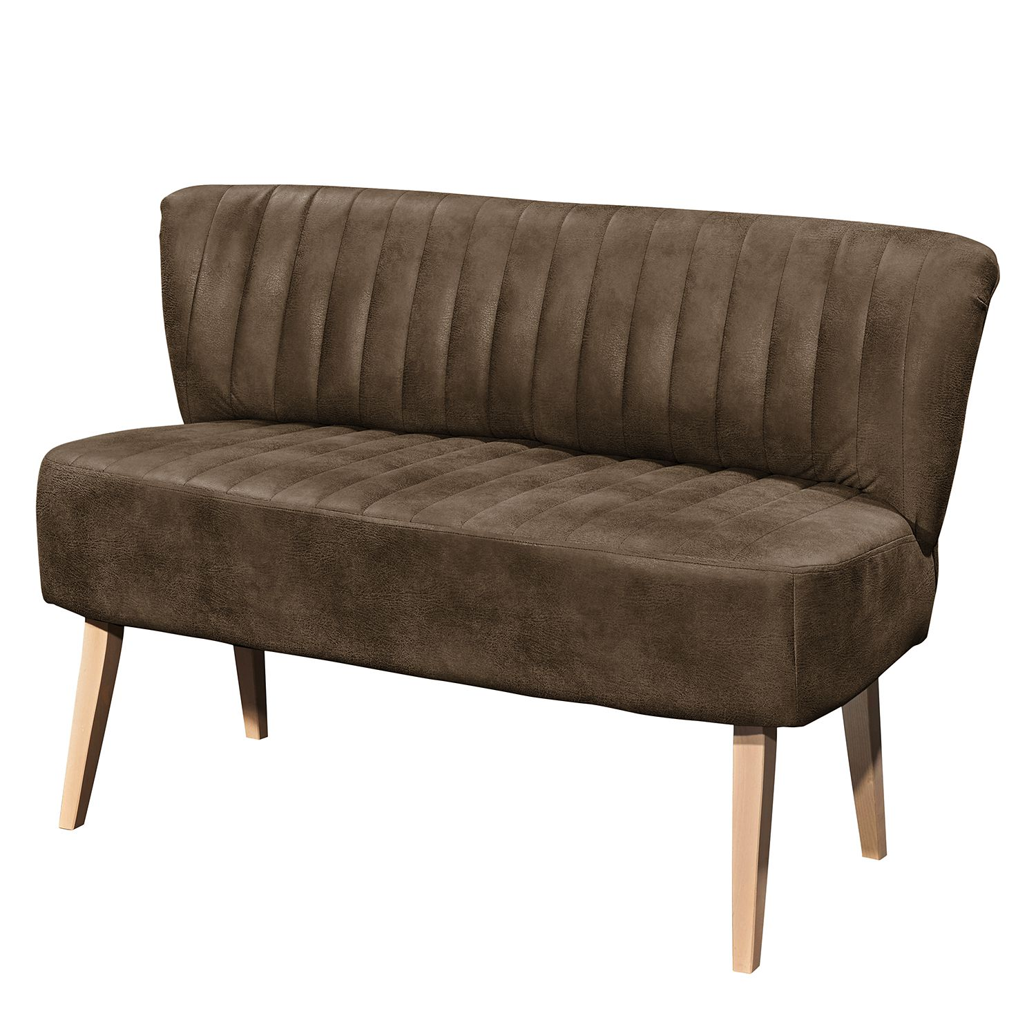 Sofa Rotnes (2-Sitzer) - Antiklederlook - Buche Natur - Havanna, mooved