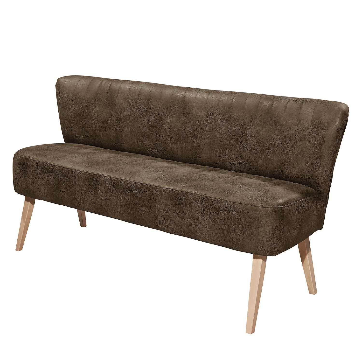 Sofa Rotnes (3-Sitzer) - Antiklederlook - Buche Natur - Havanna, mooved