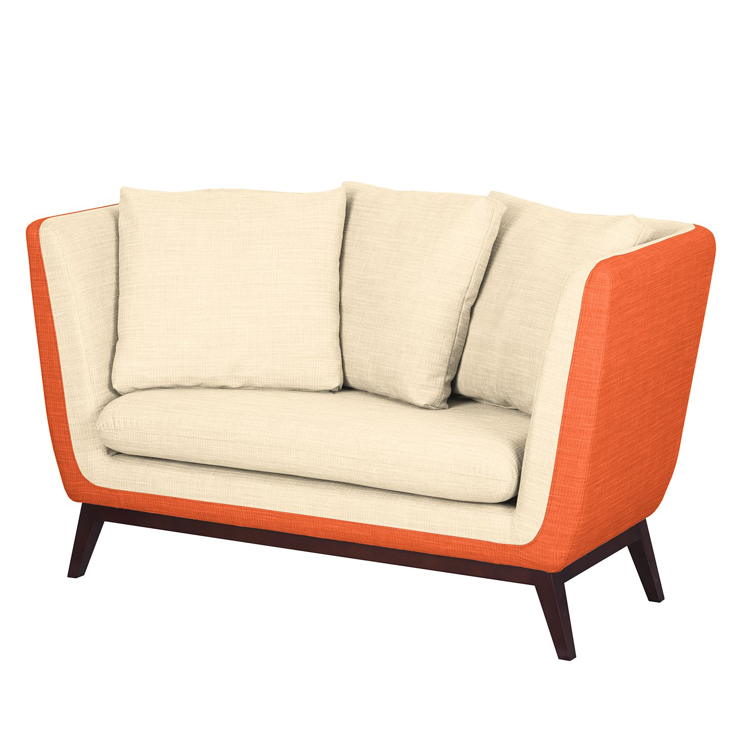 Sofa Sagone (2-Sitzer) - Webstoff - Orange / Cremeweiß, Morteens
