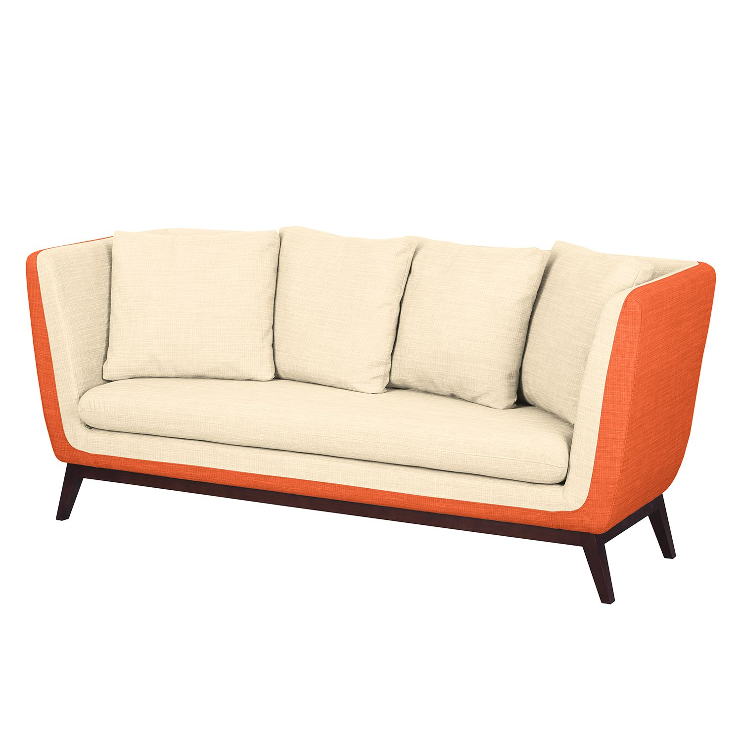 Sofa Sagone (3-Sitzer) - Webstoff - Orange / Cremeweiß, Morteens
