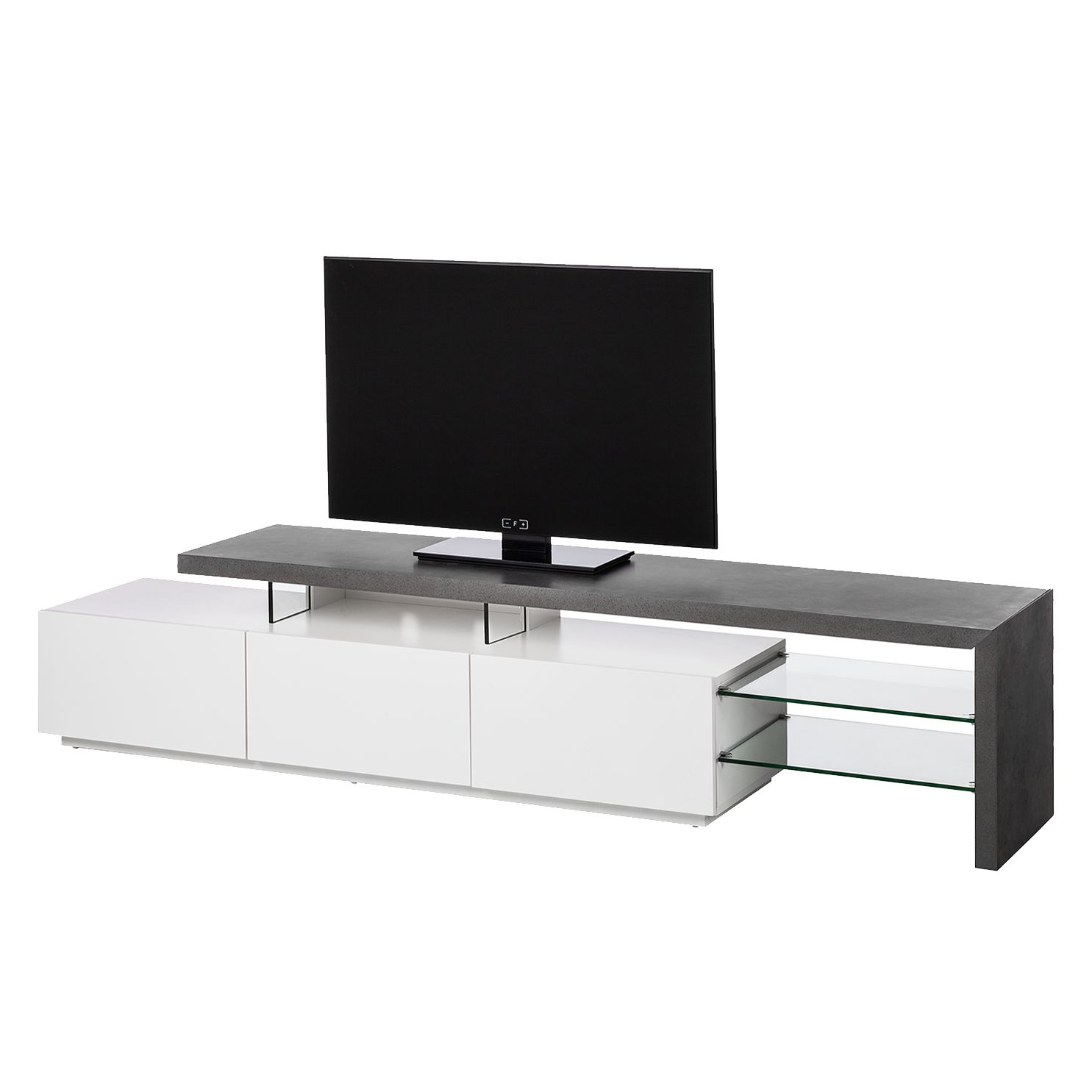 tv lowboard katakana iii hochglanz wei grau. Black Bedroom Furniture Sets. Home Design Ideas