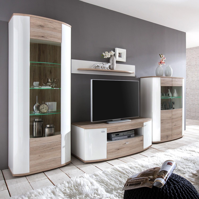 wohnwand liminka 3 teilig hochglanz wei wei. Black Bedroom Furniture Sets. Home Design Ideas
