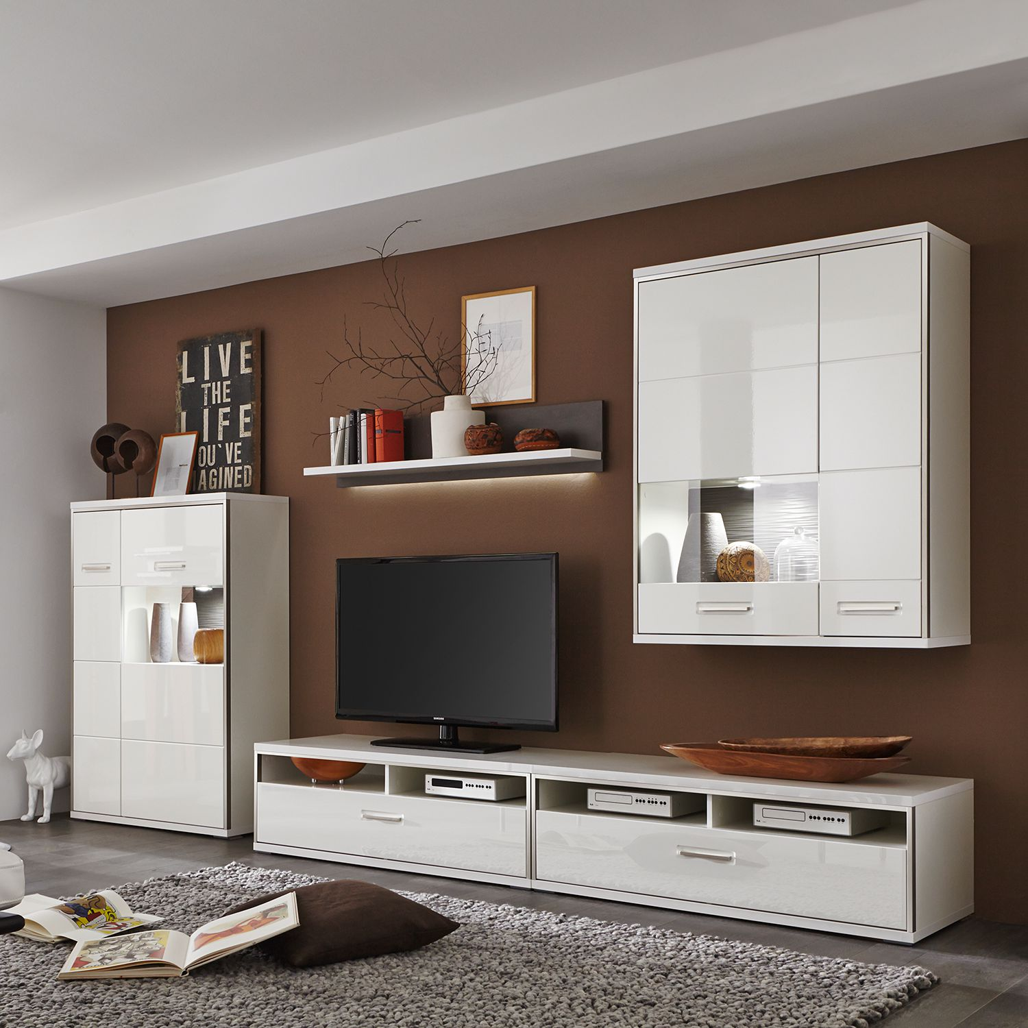 tv lowboard katakana iii hochglanz wei grau roomscape m bel preiswert online kaufen. Black Bedroom Furniture Sets. Home Design Ideas