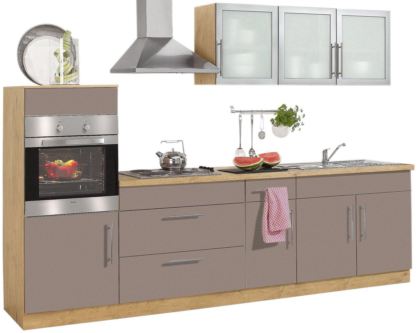 wiho k chen k chenzeile aachen mit e ger ten breite 300 cm mit metallgriffen gelb mit. Black Bedroom Furniture Sets. Home Design Ideas