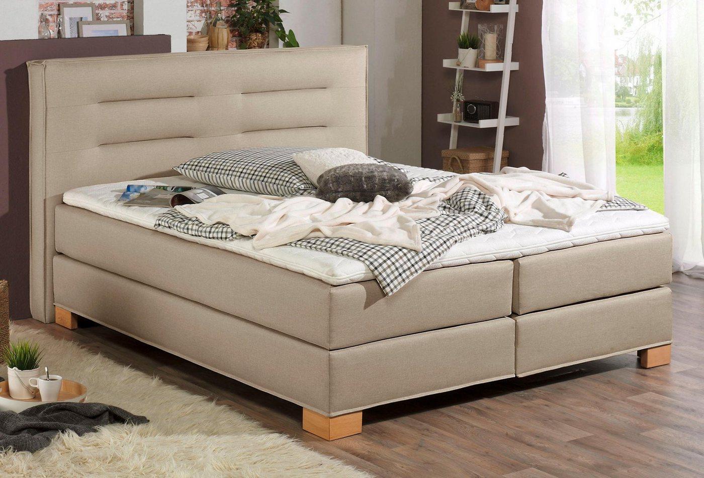 home affaire boxspringbett finley incl kaltschaumtopper 5 breiten 2 h rtegrade 3. Black Bedroom Furniture Sets. Home Design Ideas