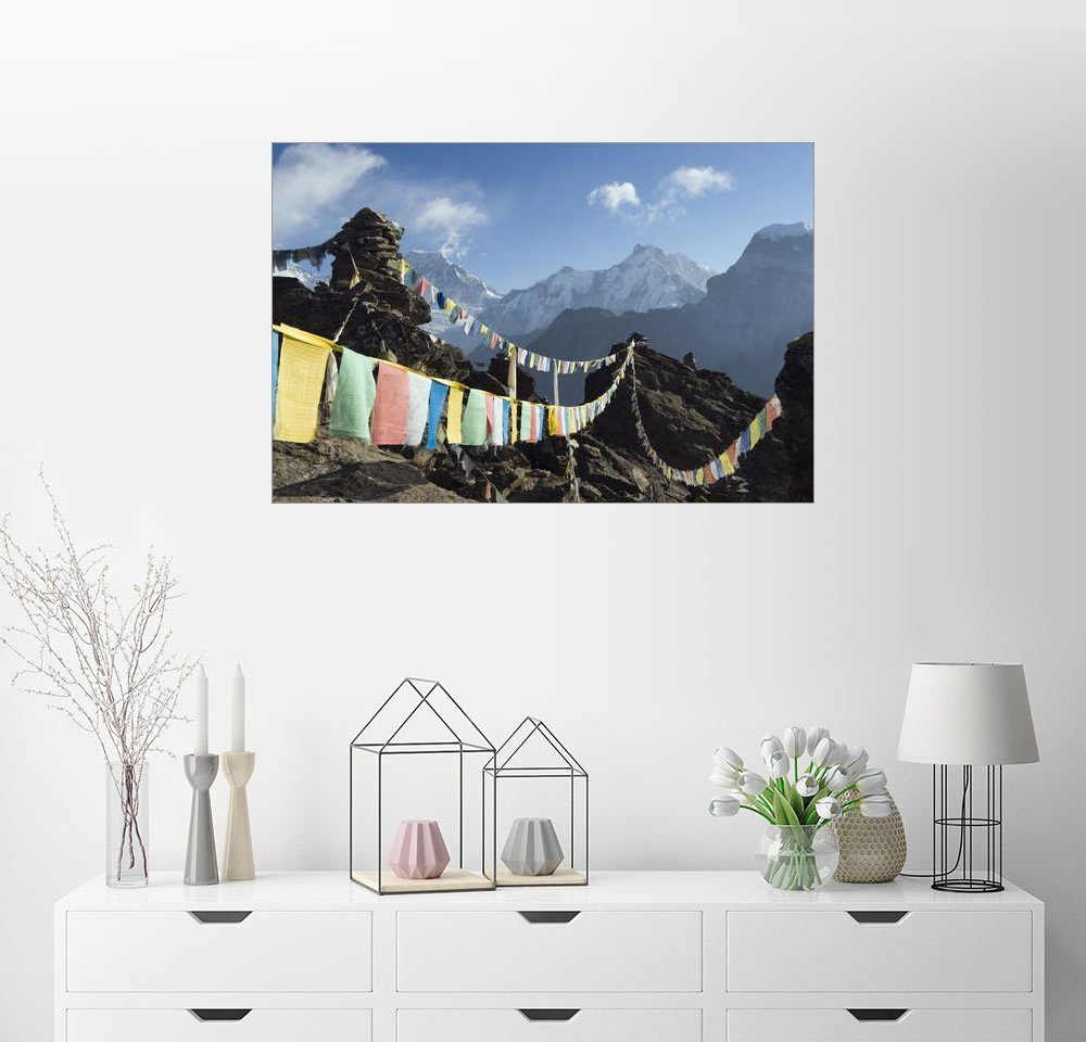 Posterlounge Wandbild - Christian Kober »Prayer flags, view from Gokyo Ri«, bunt, Poster, 60 x 40 cm, bunt