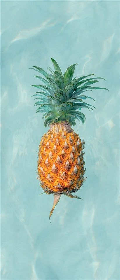 MySpotti MYSPOTTI Duschrückwand »fresh F2 Happy Pineapple«, 90 x 210 cm, blau, 90 cm, blau