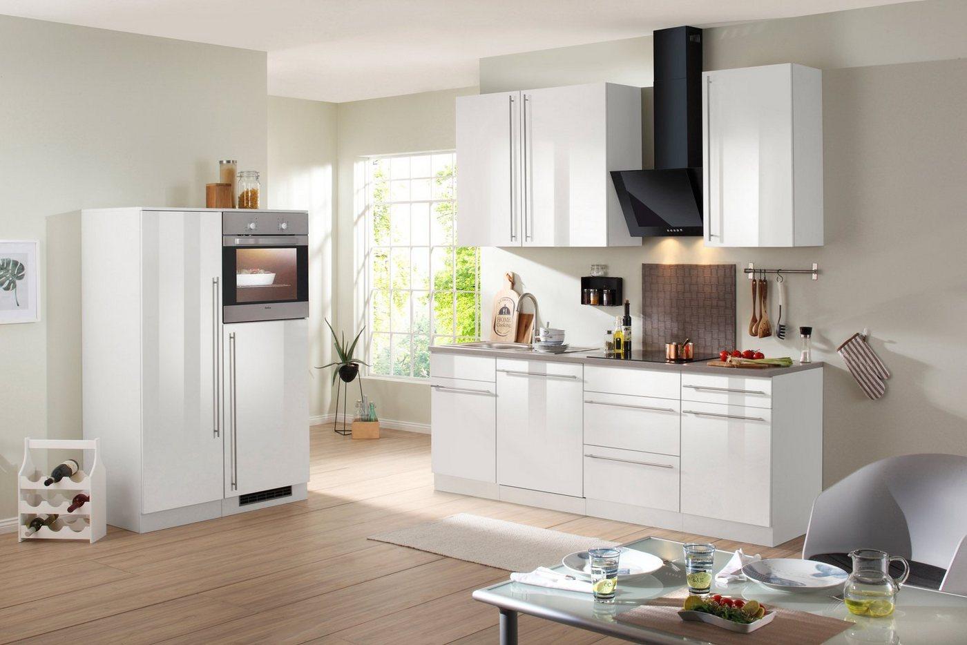 flex well k chenzeile mit e ger ten lucca gesamtbreite 150 cm wei mit aufbauservice wei. Black Bedroom Furniture Sets. Home Design Ideas