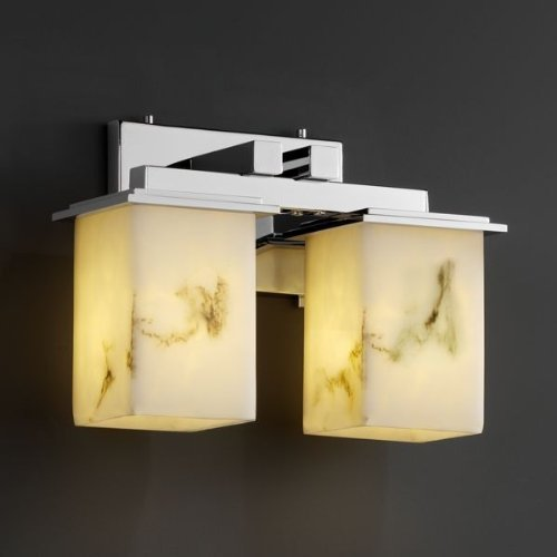 Justice Design Group LumenAria 2-Light Bath Bar - Polished Chrome Finish with Faux Alabaster Resin Shade by Justice Design