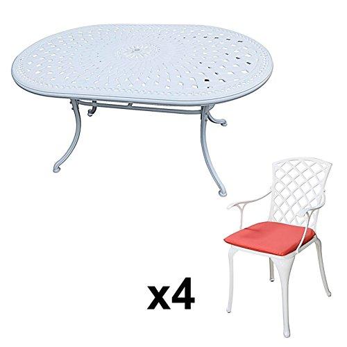 Lazy Susan   JUNE 150 X 95 Cm Ovaler Gartentisch Mit 4 Stühlen    Gartenmöbel Set